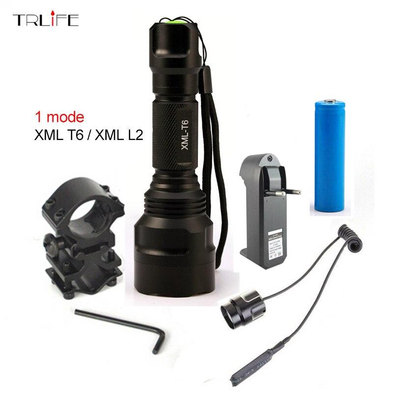 Lanterne LED lampe de Poche 1 Mode XML T6/L2 8000LM Tactique lampe de Poche En Aluminium de Chasse Flash Lumière Torche + 18650 + chargeur + Gun Mont