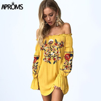 Aproms Gypsy Off Shoulder Floral Embroidery Dress Women 2017 Boho Long Sleeve Short Summer Beach Dress