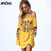 Aproms Gypsy Off Shoulder Floral Embroidery Dress Women 2017 Boho Long Sleeve Short Summer Beach Dress