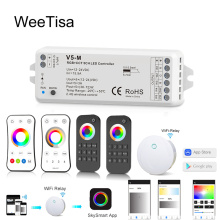 12V LED Controller RGBCCT DC 24V PWM 5CH RF Wireless Remote Smart Wifi Controller for 12V 24V RGBWW RGBCCT LED Strip Light Lamp zy cc150dc12 24v controller for dc compressor qdzh35g