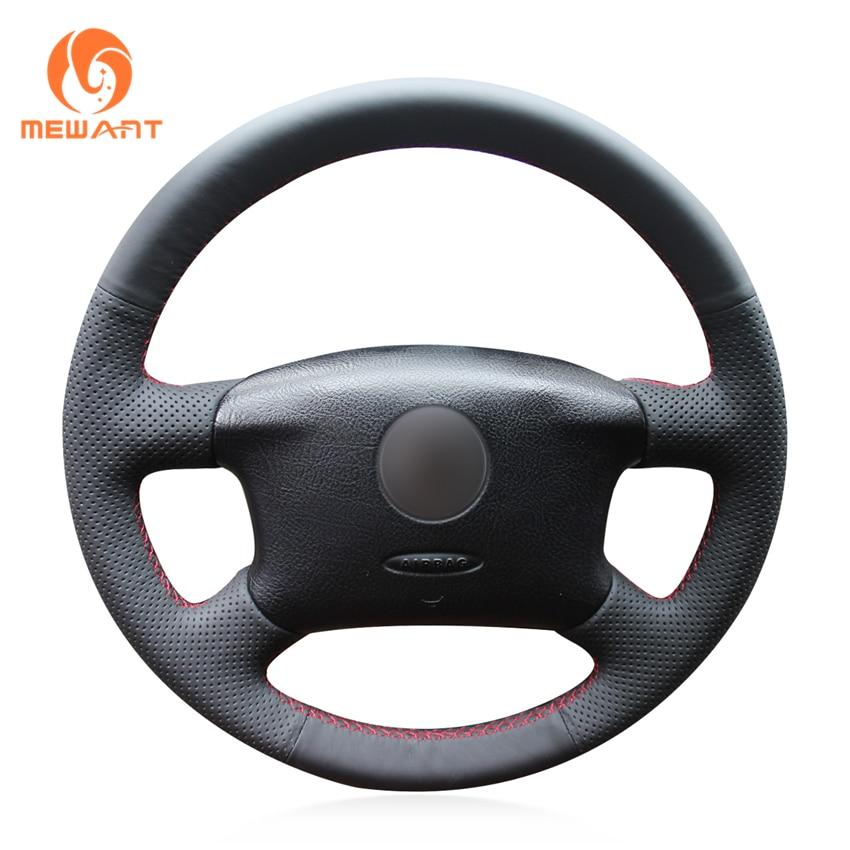 цена на MEWANT Black Genuine Leather Car Steering Wheel Cover for Volkswagen Passat B5 VW Passat B5 VW Golf 4 Skoda Octavia 1999-2005