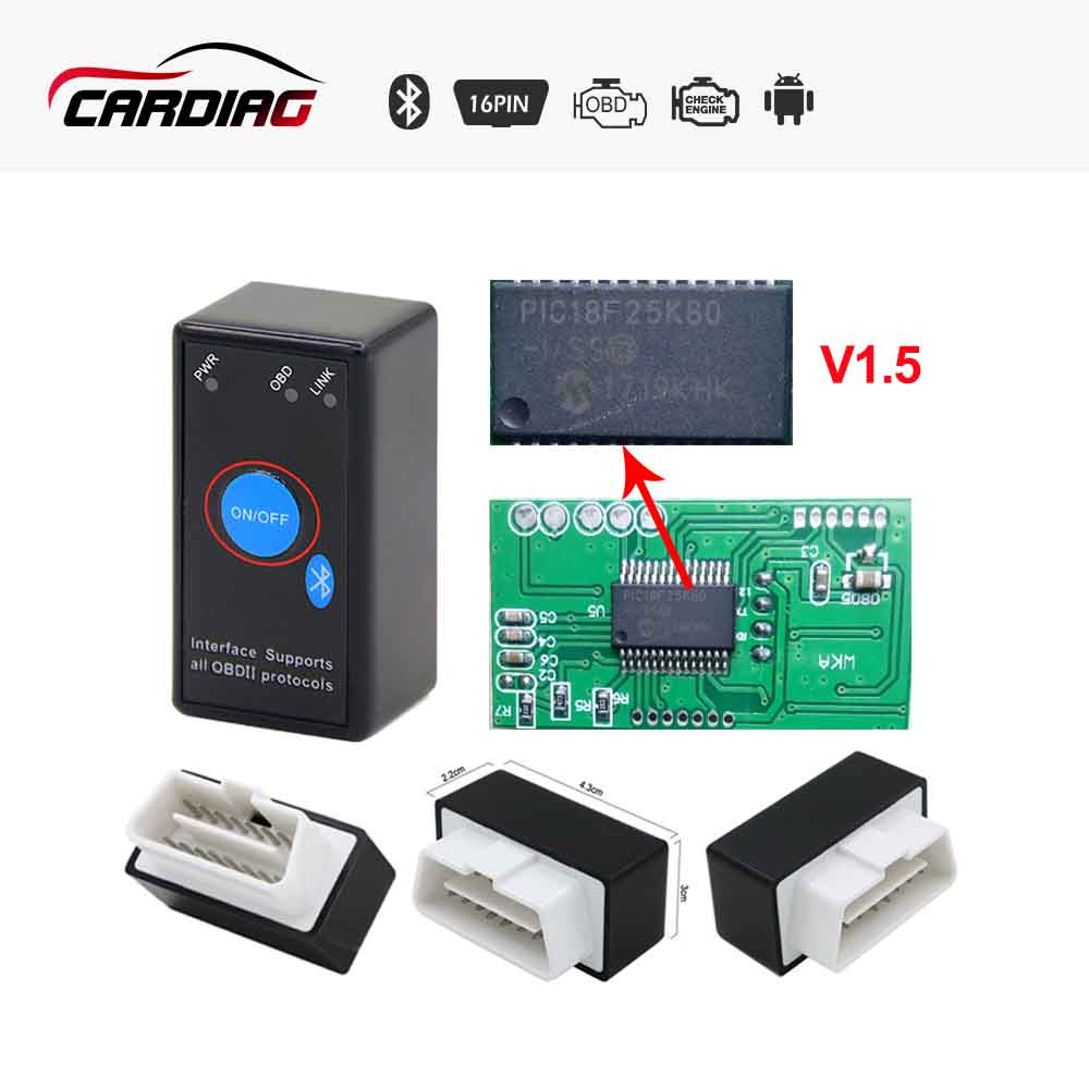 Super Mini ELM327 V1.5 With PIC25K80 Chip With Switch ELM 327 Bluetooth code reader