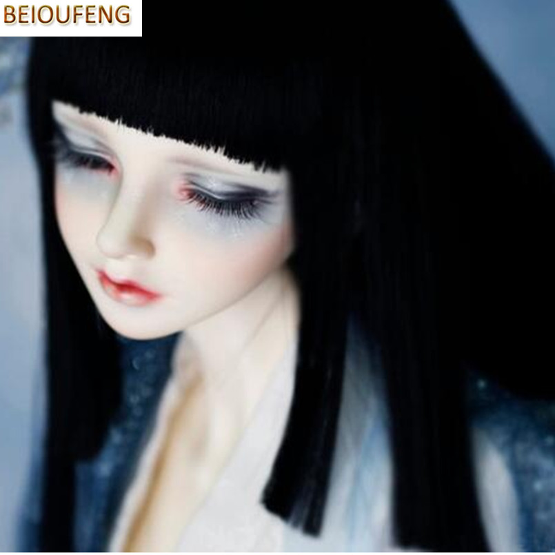 BEIOUFENG 1/3 1/4 1/6 Bjd Doll Wigs High Temperature Wire Long Straight BJD Wig Hair with Bangs Fashion Accessories for Dolls classic femal long black wigs with neat bangs synthetic hair wigs for black women african american straight full wigs false hair