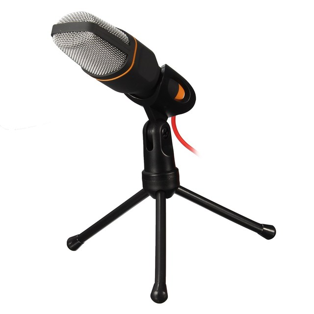 New Professional Wired Stereo Condenser Microphone With Holder Stand Clip For PC Chatting Singing Karaoke Laptop