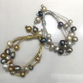 Casual sporty  Baroque Natural Fresh water Pearl bracelet  grey gold  color fashion women jewelry 10MM