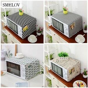 Capa de linho e algodão para forno, capa para microondas para casa, cozinha, forno, poeira, acessórios de cozinha