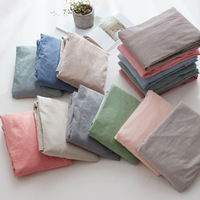 High quality 100% Washed Cotton Nordic Style Fitted Bed Sheet Solid Colors Mattress Cover Protector Sheets Elastic Band