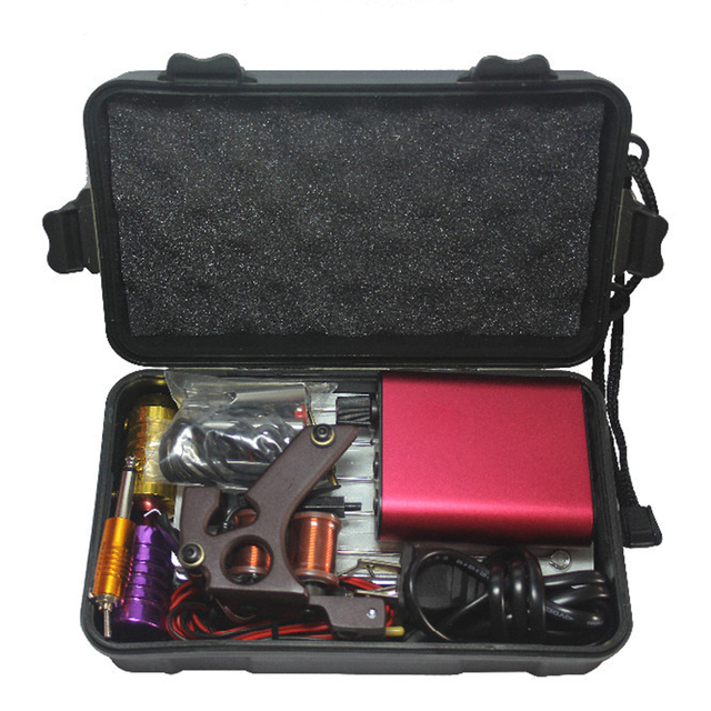 Tattoo Kit Professional with Top Quality Permanent Makeup Machine For Tattoo Equipment Cheap Red Machines + tip +needle+power