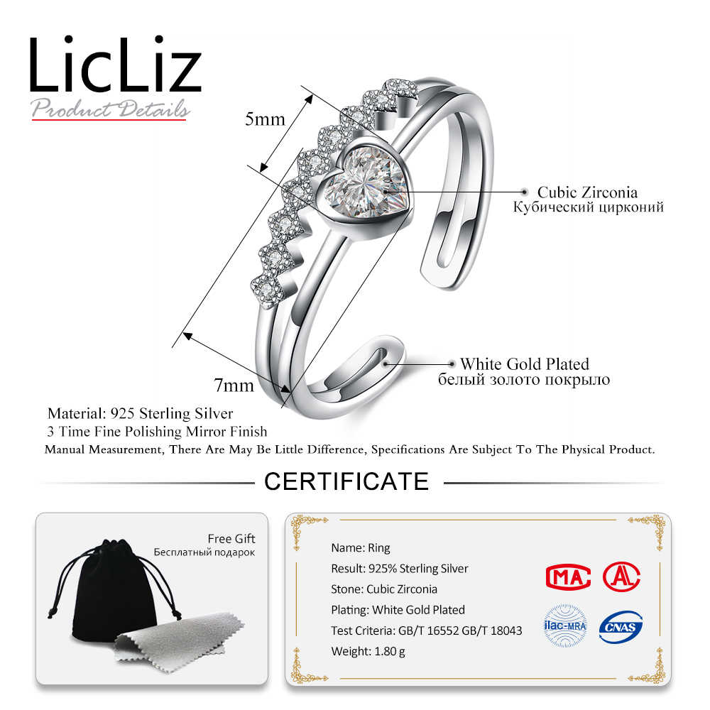 LicLiz 925 Sterling Silver Cubic Zirconia แหวนนิ้วมือ Forever Love เปิดแหวน Eternity Band LR0528