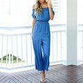 2017 Summer Sexy Rompers Womens Jumpsuits Fashion Slash Neck High Waist Casual Solid Overalls Wide Leg Loose Playsuits
