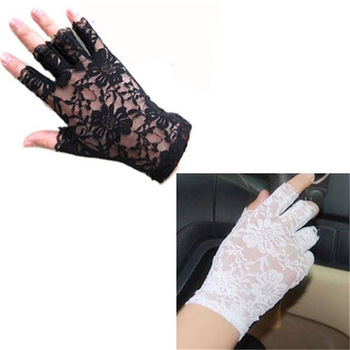 Womens Sexy Dressy Lace Gloves Sunscreen Short Gloves Fingerless Lace Driving Gloves Spring And Summer Mittens Accessories 1