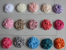 "Free USA ePacket/CPAP 120pcs 25 colors 3"" Satin Rolled Rosette Puffy Hair Boutique Flowers for Girls Headbands Hair Accessories"