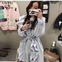 GUTU 2017 Autumn New Fashion Korean Blue Plaid Tops Round Collar Stitching Ruffles Batwing Sleeve