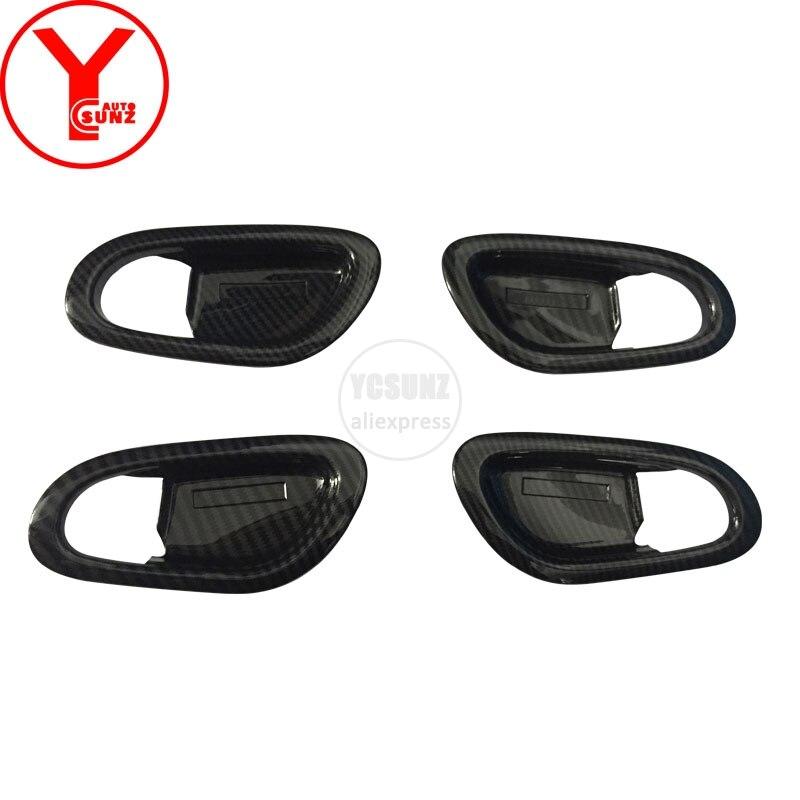YCSUNZ ABS carbon fiber interior car door handle protector For nissan terra accessories 2018 2019 car parts auto accessories