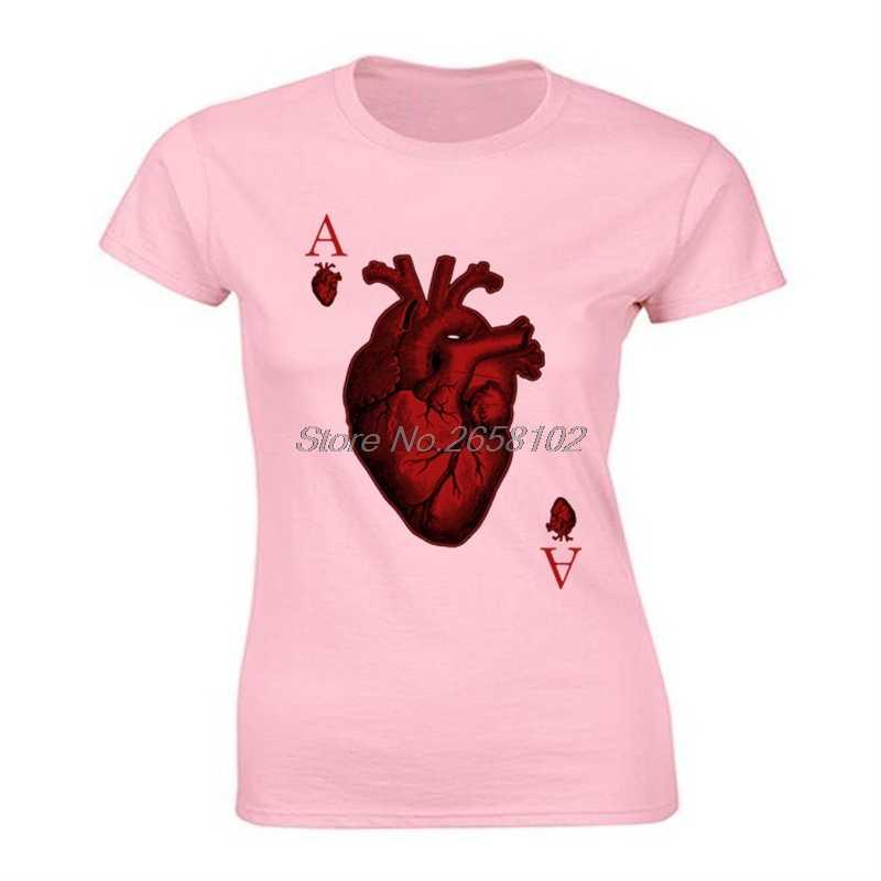 Ace Of Hearts Новинка покерный Дизайн Женские графические крутые футболки Джокер летние белые хлопковые топы Футболка Уникальные футболки уличная