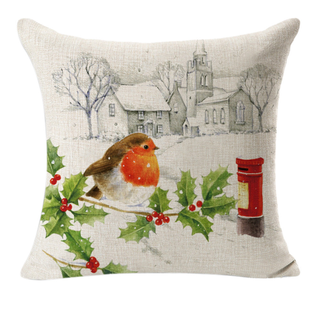 Christmas Xmas Linen Cushion Cover Throw Pillow Case Home: Bird Snow Xmas Style Cushion Cover Christmas Peace World