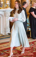 New Kate Middleton Princess Chiffon dress vintage elegant Lantern Sleeve long Pleated dresses