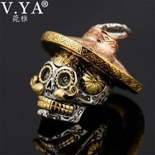 V.YA Punk 925 Sterling Silver Skeleton Skull Pendants Fit Necklaces for Men Women Thai Silver Pendant High Quality