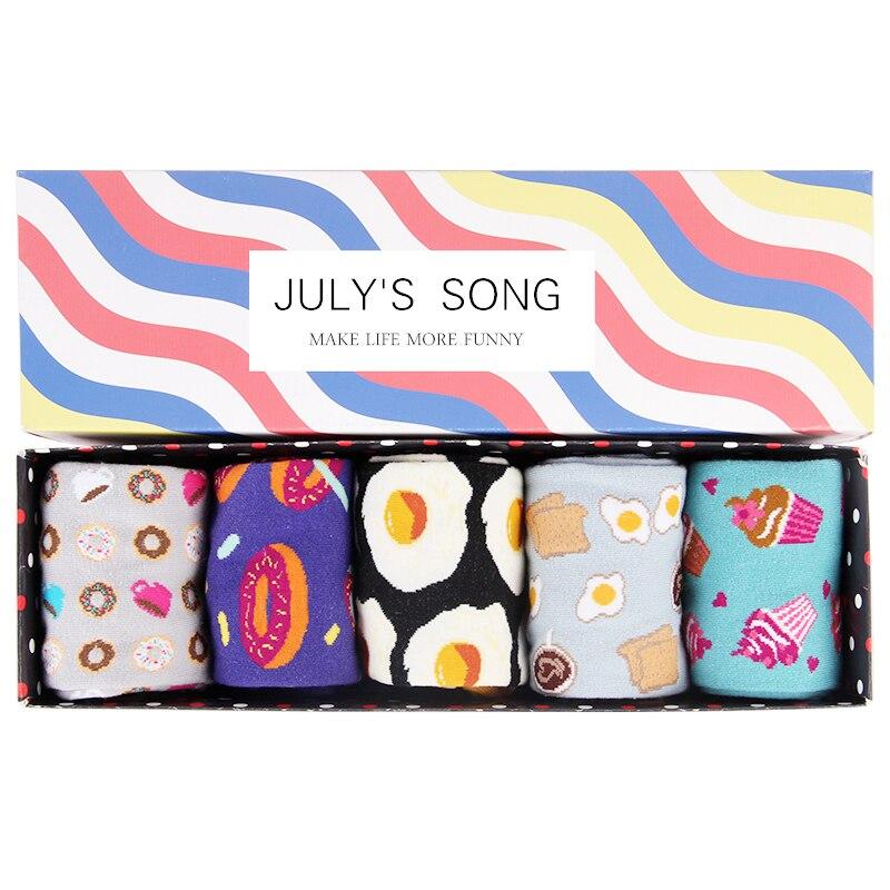 JULY'S SONG Happy Socks Women Funny Art Socks Cartoon Winter Warm Cute Pink Sush