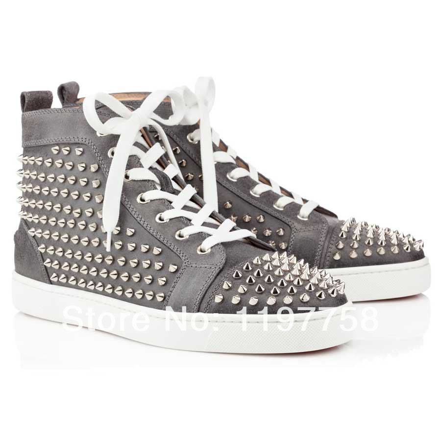mens bottom shoes spikes flat high top grey leather