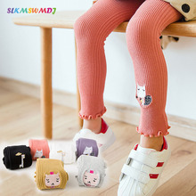 SLKMSWMDJ spring and summer new cartoon baby embroidery children girls pantyhose leggings lace for 1-8 years old