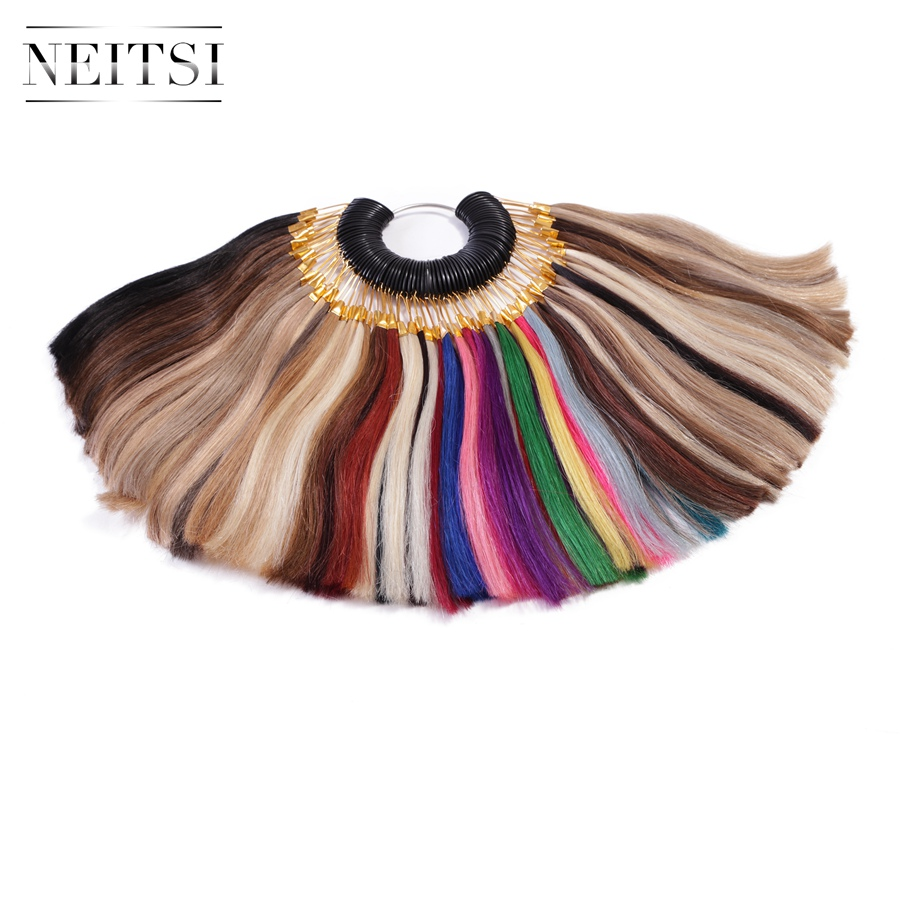 Neitsi 50% OFF Machine Made Remy Hair Color Rings/ Color Charts 85 Colors Available 100% Human Hair Can Be Dyed For Salon Sample