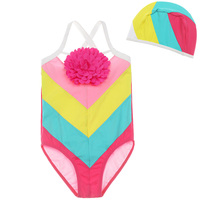 Children S Fashion Conjoined Swimsuit Girl Baby Candy Rainbow Clash Striped Double Fabric Swimwear Cap Suit