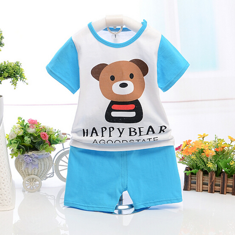 Retail 2016 Summer infant clothes baby clothing sets boy Cotton Monkey and Elephant the short sleeve 2pcs baby boy clothes