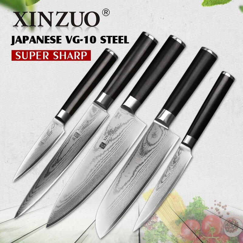 Xinzuo 5 шт. Кухня Ножи комплект сравнивая утилита Тесак Дамаск шеф-повар Ножи японский VG10 стали Кухня Ножи Sharp Бесплатная доставка