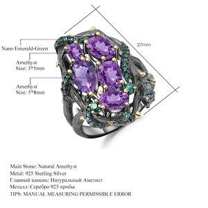 Image 5 - Gems Ballet 3.23Ct Natuurlijke Amethist Ringen 925 Sterling Zilveren Handgemaakte Hollow Element Ring Voor Vrouwen Bijoux Fijne Sieraden