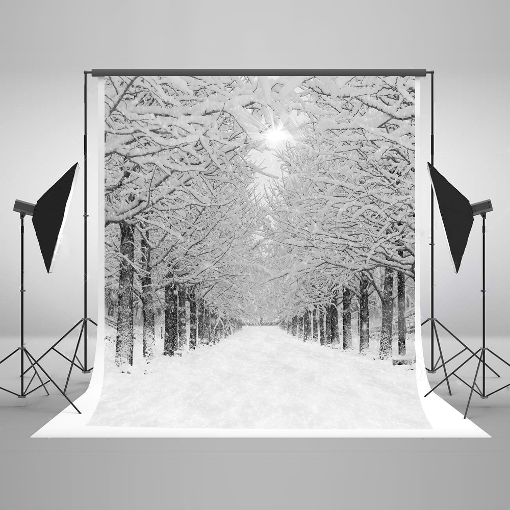 Kate Winter Photography Backgrounds 10x10ft Snow Tree Forzen Newborn Photography Studio Cotton Washable Photo Booth Backdrop