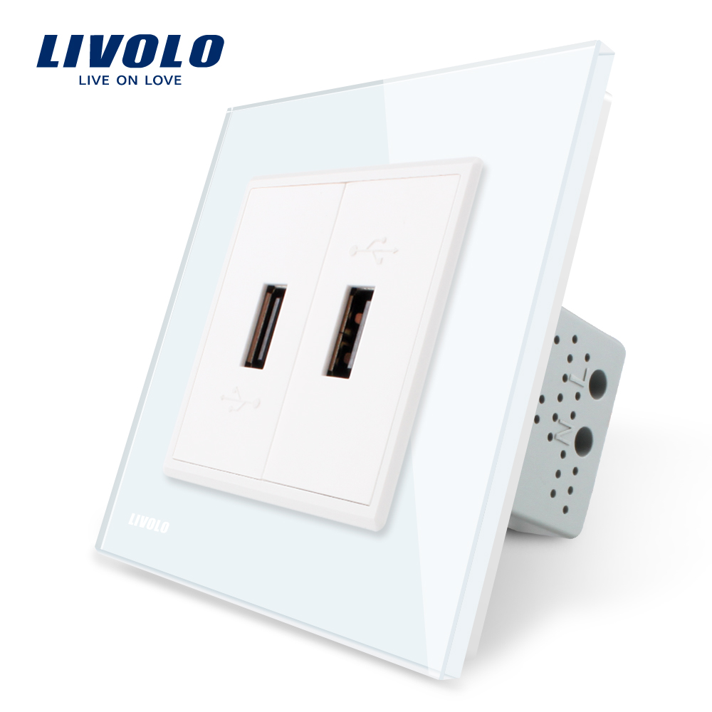Livolo White Crystal Glass Panel, One Gang USB Plug Socket / Wall Outlet VL-C792U-11 atlantic brand double tel socket luxury wall telephone outlet acrylic crystal mirror panel electrical jack