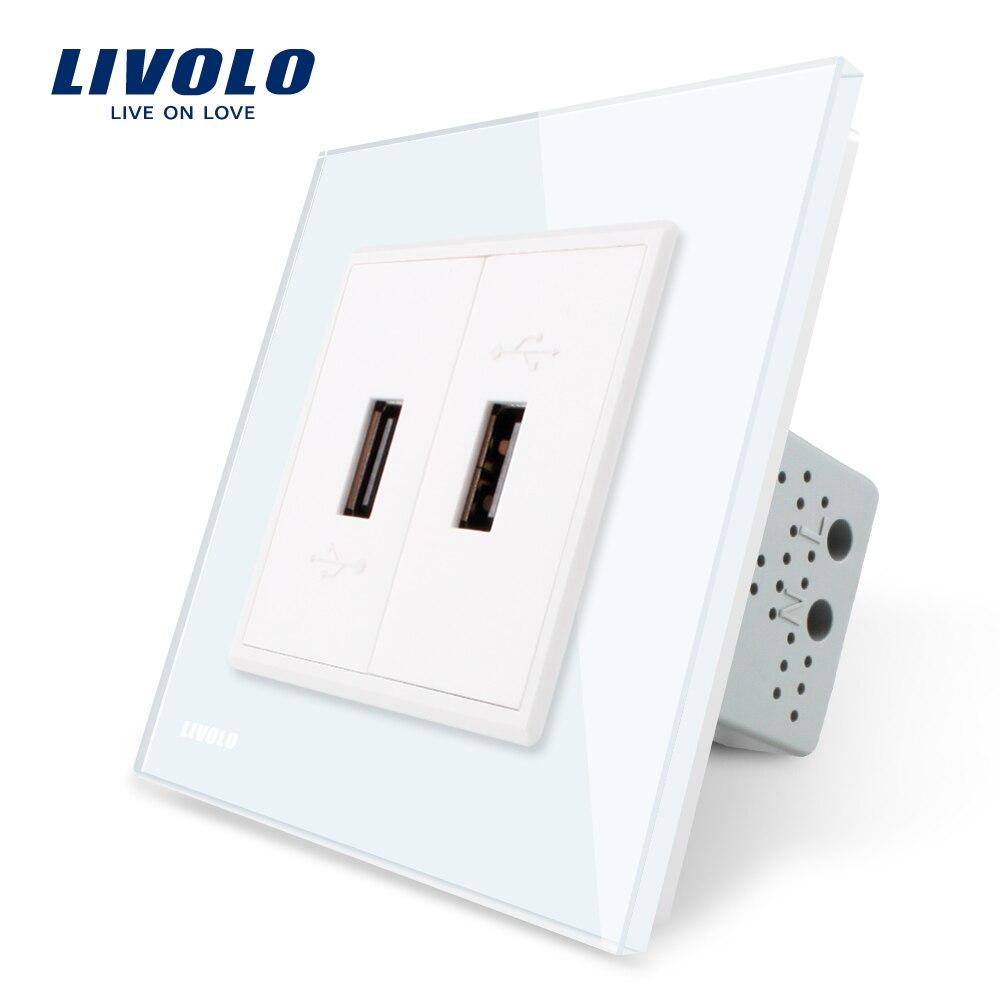 Livolo White Crystal Glass Panel, One Gang USB Plug Socket / Wall Outlet VL-C792U-11