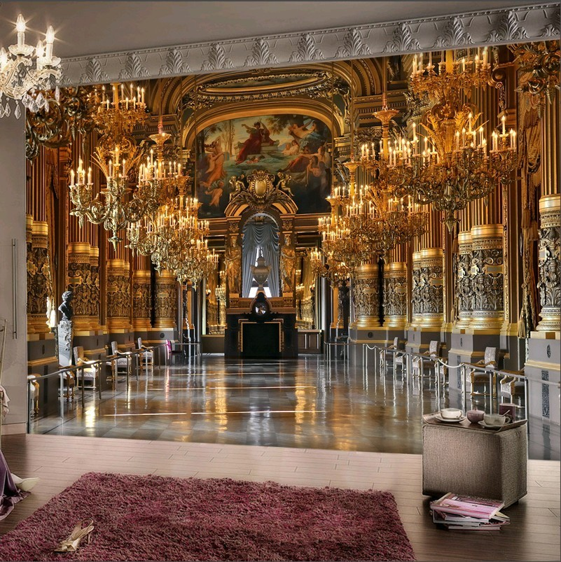 2017 luxury classic golden hall wall paper home decor wall for Wallpaper of home wall
