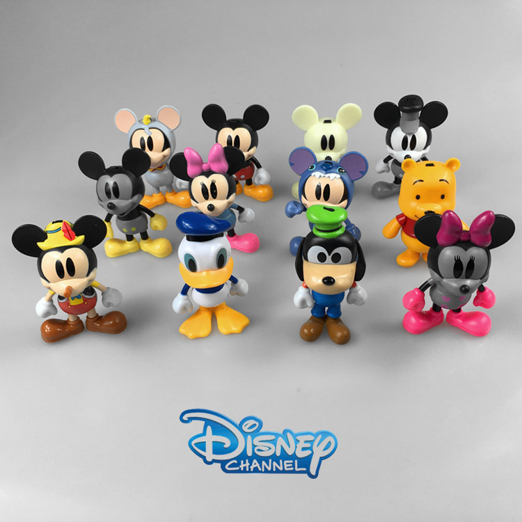 Disney Products For Kids 12 Pcs/Set Cute Cartoon Mickey Mouse Plastic Action Figures 8 Cm Dolls Model Juguetes Zy006