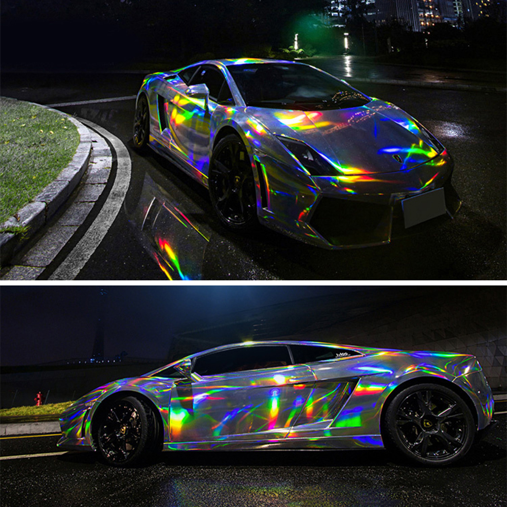 Car stickers holographic chrome vinyl holo film laser plating car wrap sticker sheet with air bubble free 2m 5m 20m152cm roll in car stickers from