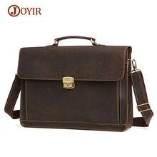 JOYIR Vintage Genuine Leather Men Briefcases Laptop Bag Business Men's High Quality Leather Briefcase Men Messenger Bags Handbag