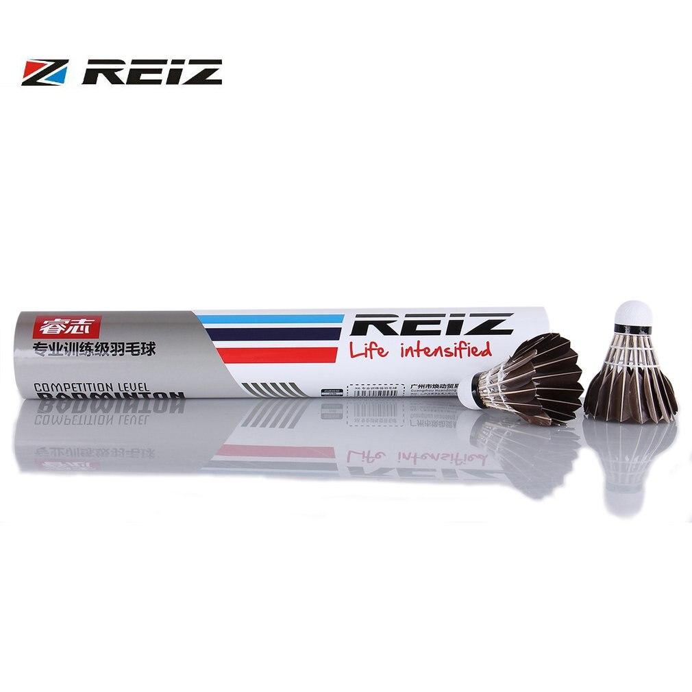 REIZ X6 12pcs/set Professional Competition Level Badminton Shuttlecocks Durable Black Duck Feather Training Badminton Ball Hot
