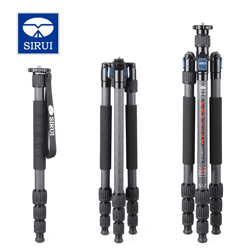 SIRUI W-1204 W1204 Tripod Carbon Fiber Flexible Monopod For Camera Water/Sand/Dust Proof Triopd 4 Section DHL Free Shipping штатив sirui w 2004