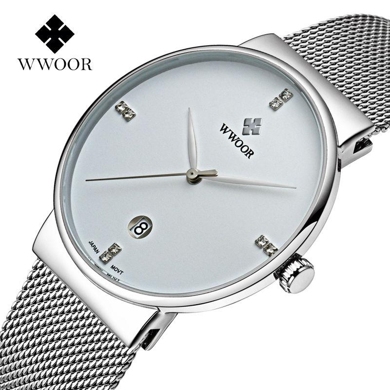 Prix pour Nouvelle marque de luxe WWOOR montres étanche maille ceinture de poignet montres Hommes simple mode csasual date quartz ultra mince montres