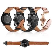 Correa de cuero con cierre de mariposa para Samsung Galaxy Watch, pulsera activa de 46mm y 42mm para Gear Sport S3 S2 Classic, 20mm y 22mm