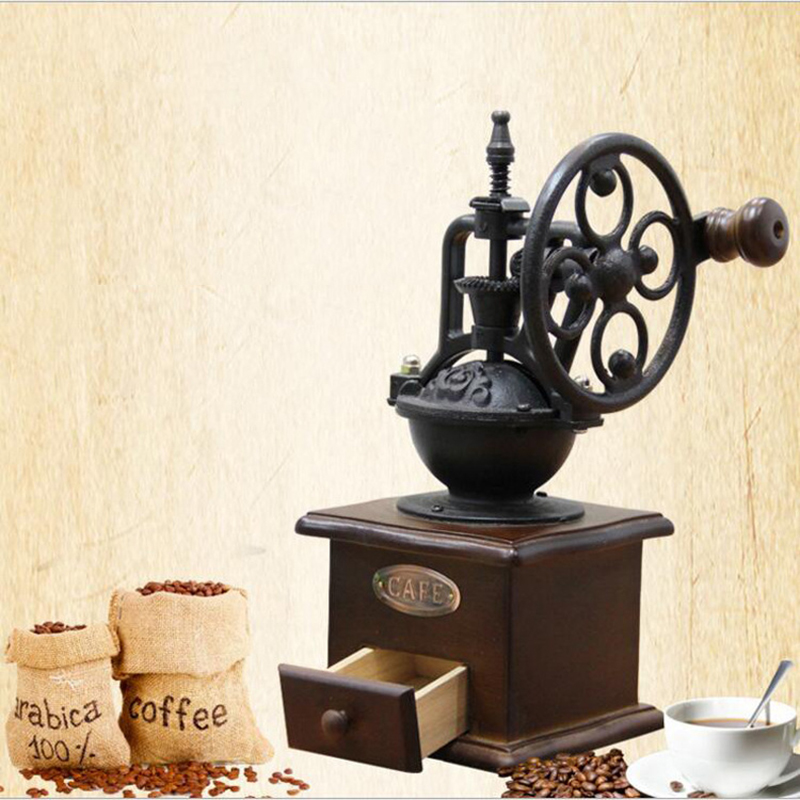 Manual Coffee Grinder Hand Crank Coffee Grinder Antique Cast Iron Hand Crank Coffee Mill With Grind Settings & Catch Drawer
