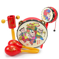 Baby Rattle Pellet Drum Cartoon Musical Hand Shaking To Teether Dumbbell Toy For Children Learning Instruments Infant Gift Toy
