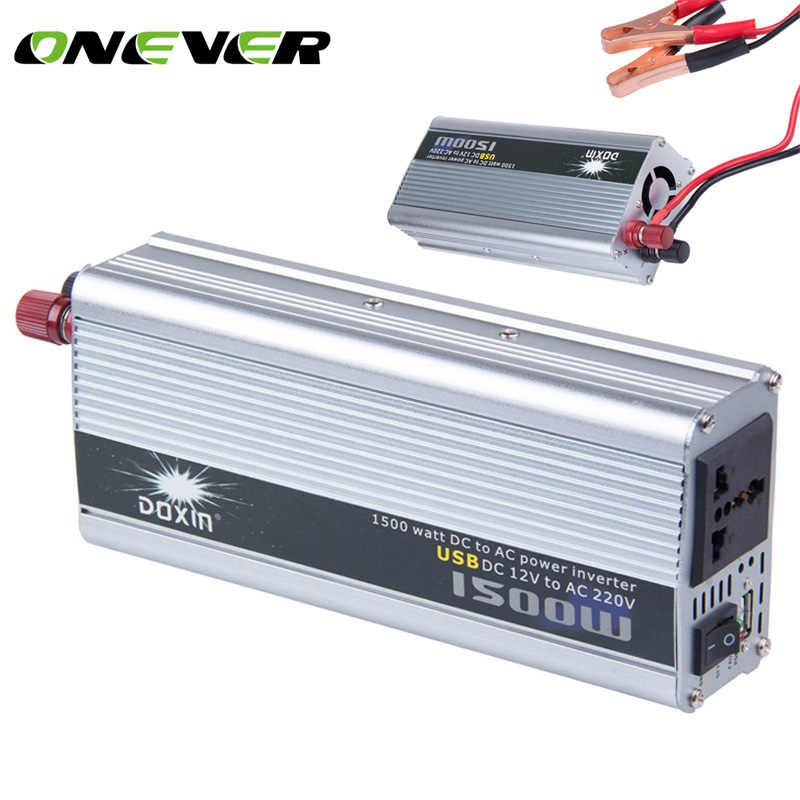Onever 1500watt DC to AC Power Inverter USB DC 12V to AC 220V 1500W Auto Converter Modified Sine Wave Power with USB