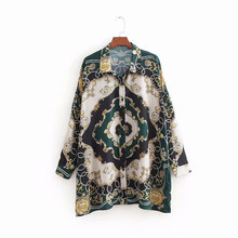 Fashion women's retro print long sleeves Shirts Chic print loose Shirt &Blouses A140 grid pattern long sleeves blouses