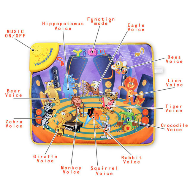 58x48 CM Animais Engraçados Do Bebê tapete Musical Toque em Reproduzir Cantando Ginásio Carpet Mat Toy, educacional música jogar mat com luz led