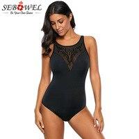SEBOWEL Sexy Black Embroidered Mesh Bust One Piece Swimsuit Women Summer Beach Monokini Bathing Suit 1