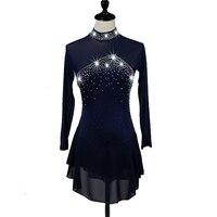 Figure Latino Dress Women's Girls' Ice Skating Aquamarine Black Rhinestone High Elasticity Ballroom Performance Dresses H8001