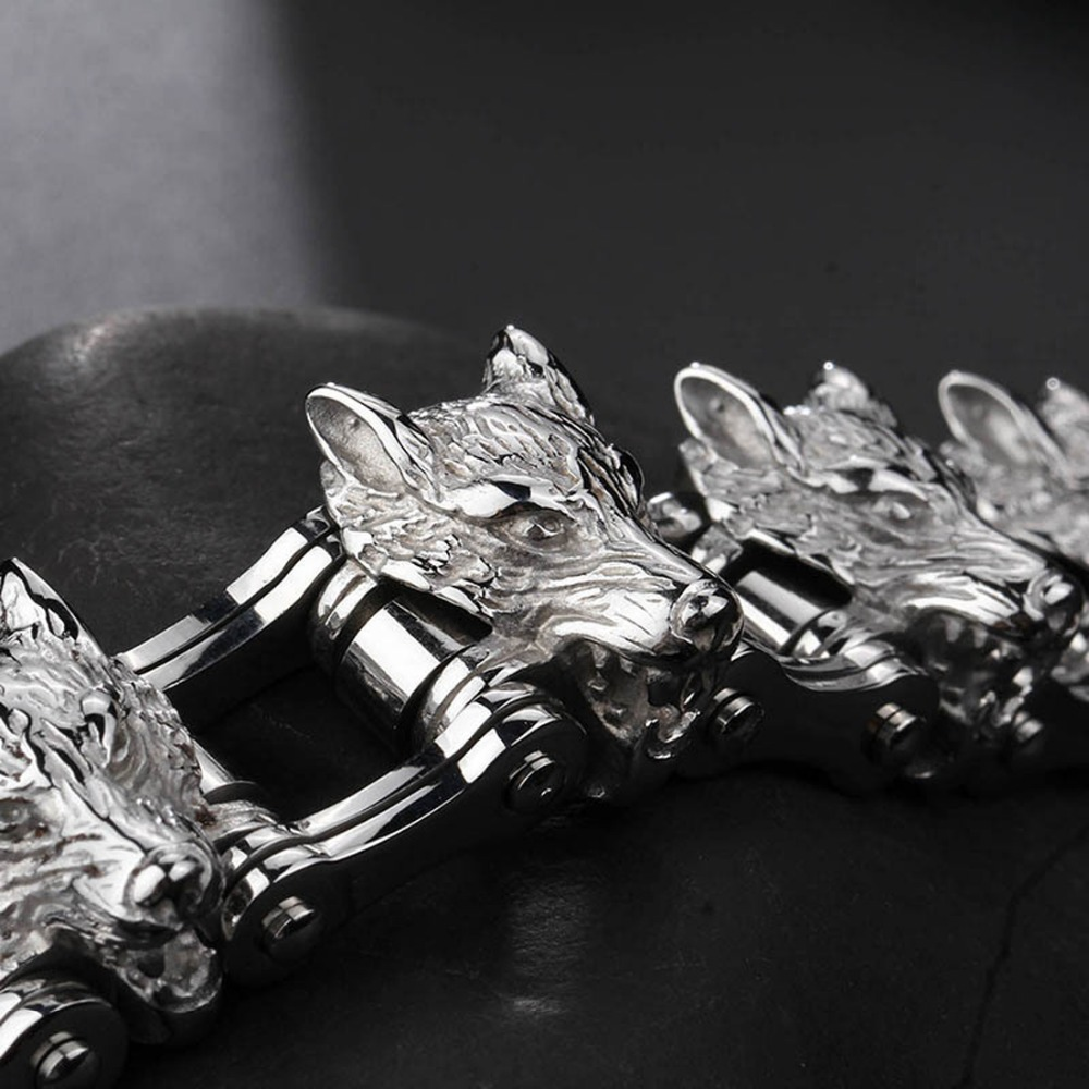 À la mode en acier inoxydable 316L argent Animal tête de loup moteur chaîne de vélo Bracelet pour hommes Bracelet cadeau de noël 8.26