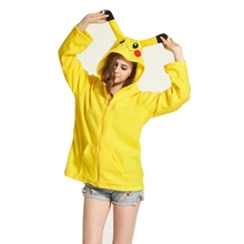 Yellow Pikachu Women Men Hoodie Animal Cartoon Jacket Pokemon Cosplay Tracksuits Zipper Gardigan Sweatshirts(China)